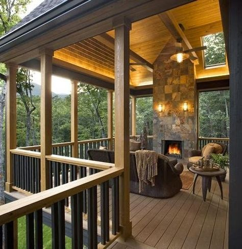 Covered Deck With Fireplace | Backyards Click
