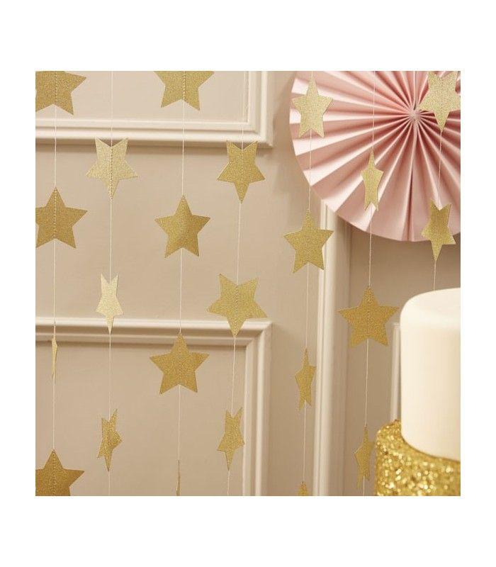 Guirnalda estrellas doradas | Decoración Fiestas Infantiles, Bodas, Navidad, Fiestas