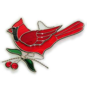 Stained Glass Cardinal Pattern | Cardinal and Cherries Suncatcher