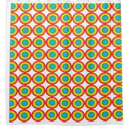 Primary_bulle seye in red yellow and green shower curtain - shower curtains home decor custom idea personalize bathroom