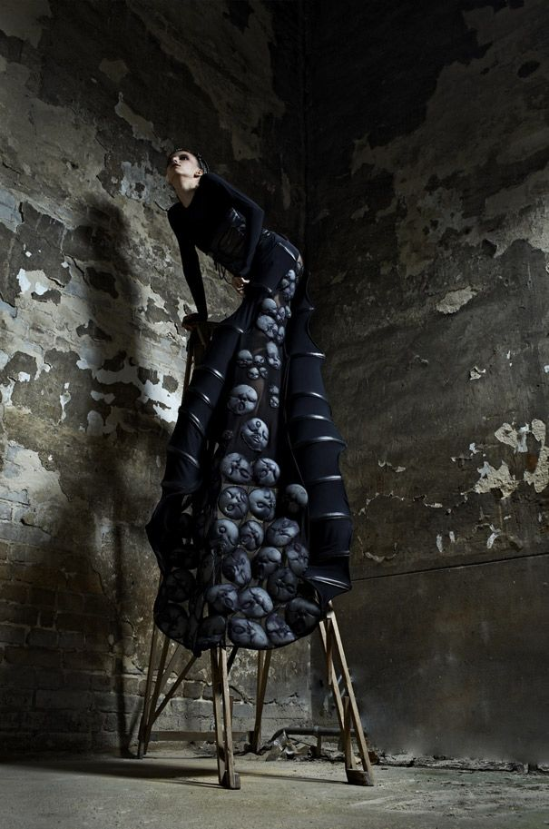 Now young Polish fashion designer Malgorzata Dudek tries to transfer the Swiss artist's visions on fabric, in a tribute collection that has been reviewed and approved by Giger himself.