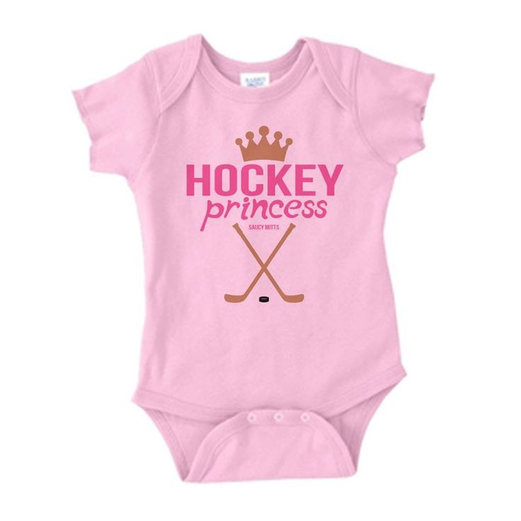 Dress your little hockey princess in this cute hockey baby onesie. Would also be a great gift for hockey fans or hockey players that are expecting a new baby girl or a baby shower gift.  5.0 oz., 100% combed ringspun cotton 1x1 baby rib, Reinforced three-snap closure.