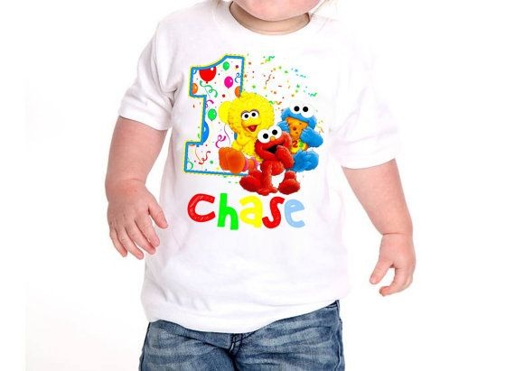 This Professional Printed Sesame Street Birthday Shirt Is Customized With Any NAME And AGE You Choose Please Include Name Age For