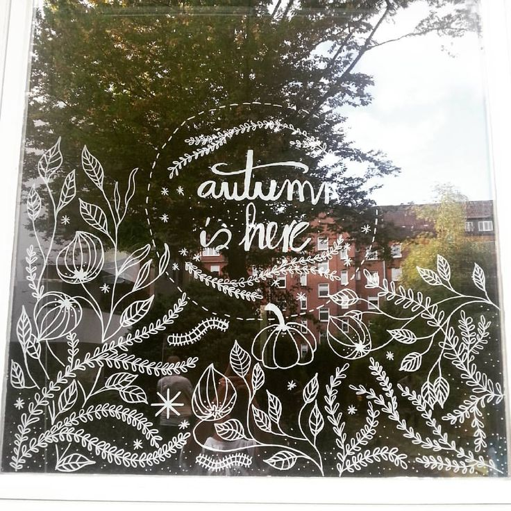 Boutiquizing Inspo: Autumn is here! But you could probably tell that from the inclusion of the pumpkin.  Trendwatch: Liquid chalk markers  Illustrations  Window art  Fall & Autumn. Artwork by Carroll Kolasa @carroll_kolasa                                                                                                                                                                                 More