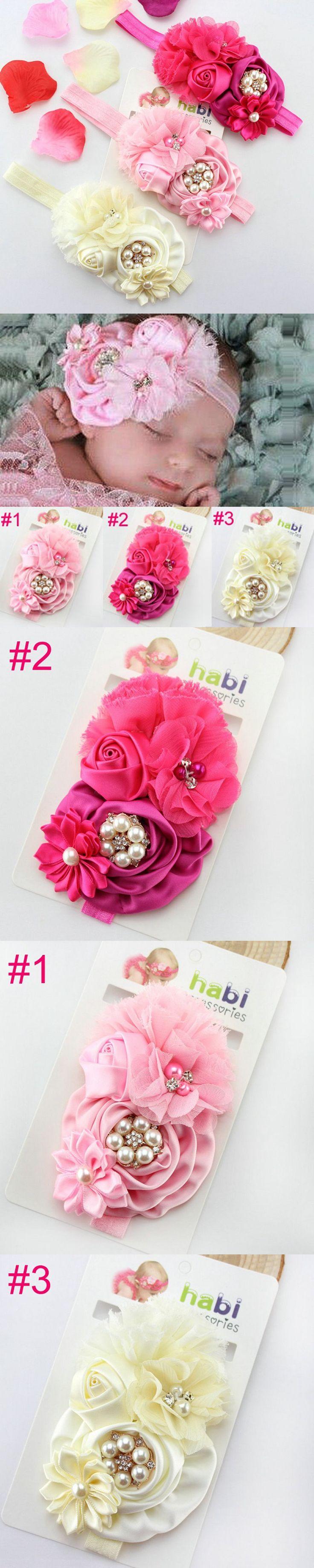Infant Baby big Rose Flower Headband Baby Girls Rhinestone and Pearl Chiffon Flower Headband Children Hair Accessories 1pc HB004