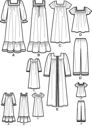 Simplicity 4048 from Simplicity patterns is a Misses' nightgown sewing pattern