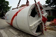 Tunnel boring machine -  Urban installation for an 84-inch sewer in Chicago, IL, USA.
