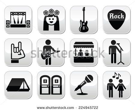 Music festival, live concert vector buttons set by RedKoala #toitoi #tent #gig #hippie #rocknroll #guitar