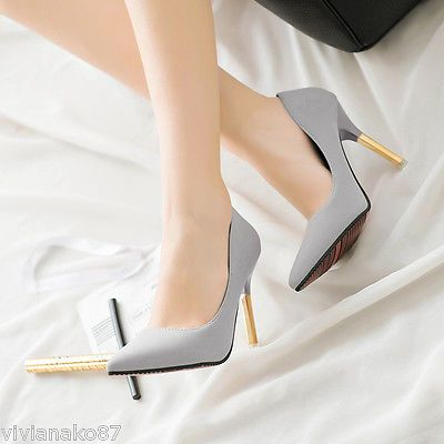 Women-Shallow-Mouth-Pointed-Toe-PU-Pumps-High-heeled-Stilletos-Court-Shoes