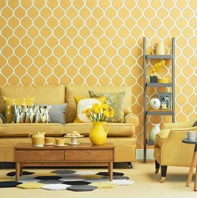 Wohnzimmer tapeten design geometrisch muster in gelb dekor f r moderne landhaus wohnzi… in 2020 ...