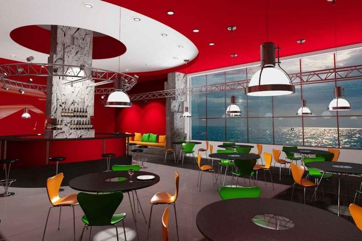 http://taizh.com/wp-content/uploads/2014/10/colorful-cafe-interior-design-with-round-bar-stools-and-pendant-lamp-as-well-green-yellow-chair-and-round-black-table-including-red-ceiling-and-bar-design.jpg