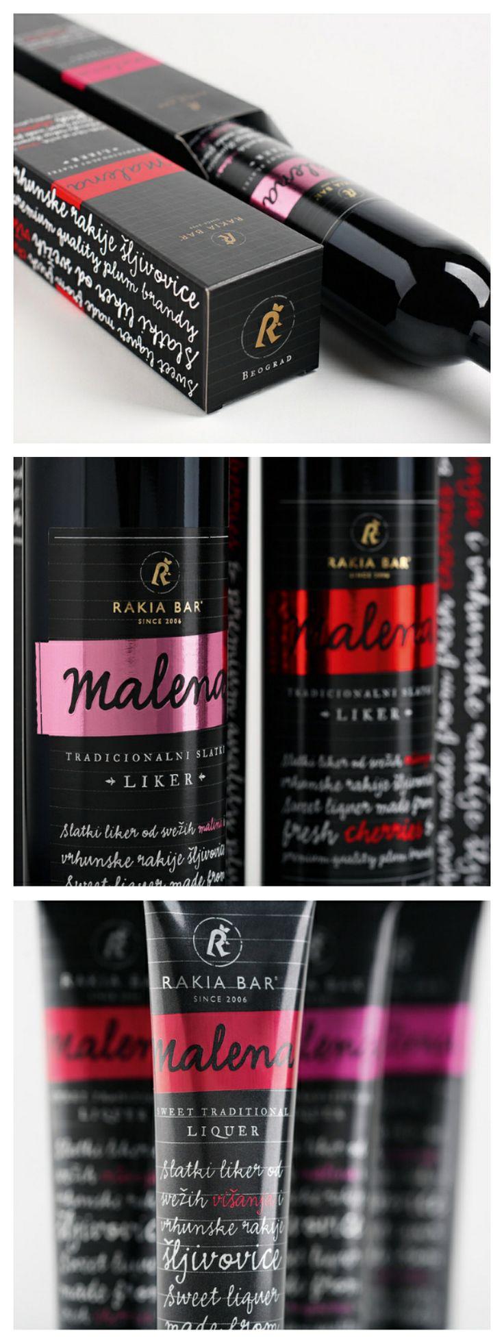 Malena Liquer, Rakija Bar... Sweet packaging.. http://www.cobaassociates.com/portfolio/malena-liquer.htm