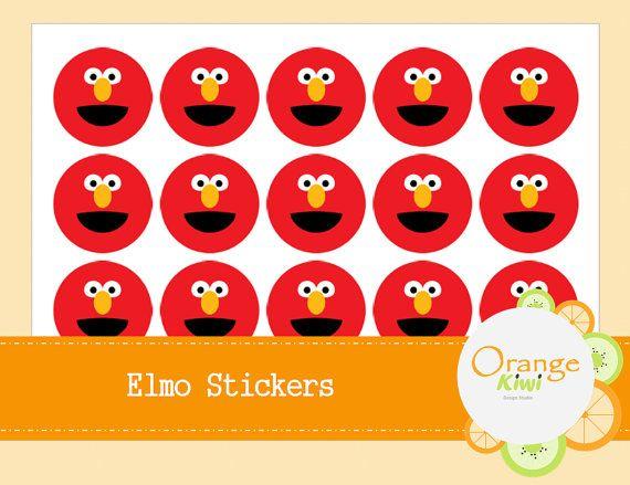 Elmo Stickers  Elmo Party Favor Stickers  Elmo by OrangeKiwiDesign
