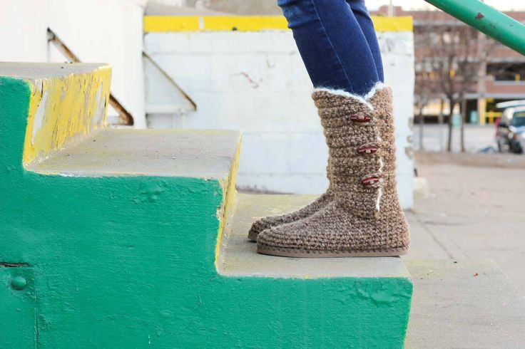 """Learn how to make """"Breckenridge"""" Boots with flip flop soles in Part 1 of this free crochet pattern and video tutorial. This adult-sized pattern makes super cozy slippers or even crochet shoes to wear outside. Made with Lion Brand Wool Ease Thick and Quick in """"Toffee."""""""
