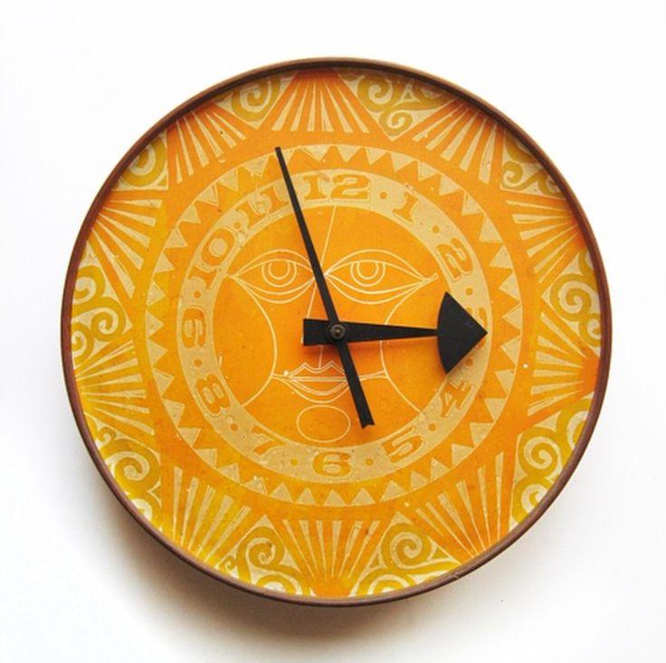 Arthur Umanoff Masonite Mayan sun clock face for Howard Miller