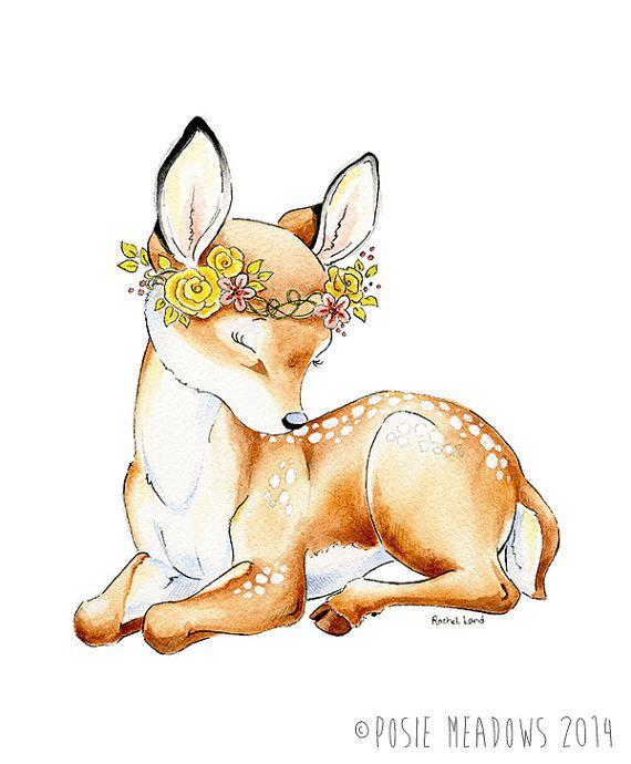 Little Dear  Baby Deer Fawn Watercolor Giclee by PosieMeadows, $7.00