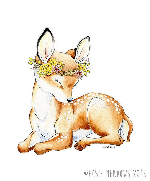 SALE! Little Dear - Baby Deer Fawn Watercolor Giclee Print, Original Artwork, Children's illustration, Nursery Wall Art