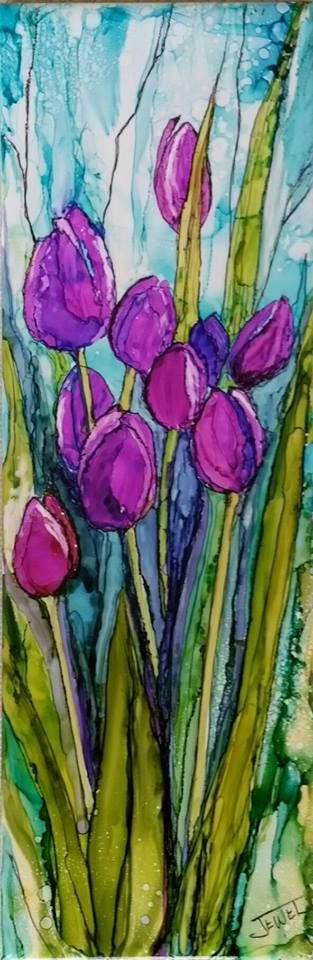 """Tulips alcohol ink on 4 x 12 """" tile By Jewel Buhay"""