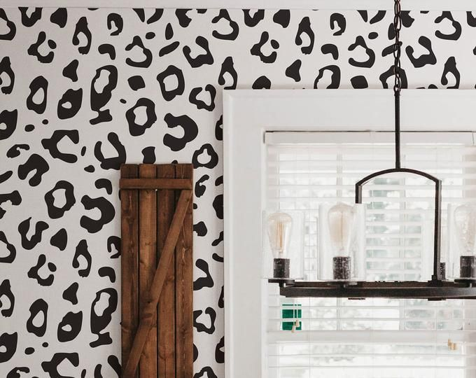 Wallpaper With Scallop Pattern Black And White Removable Etsy Leopard Print Wallpaper Animal Print Wallpaper Wallpaper