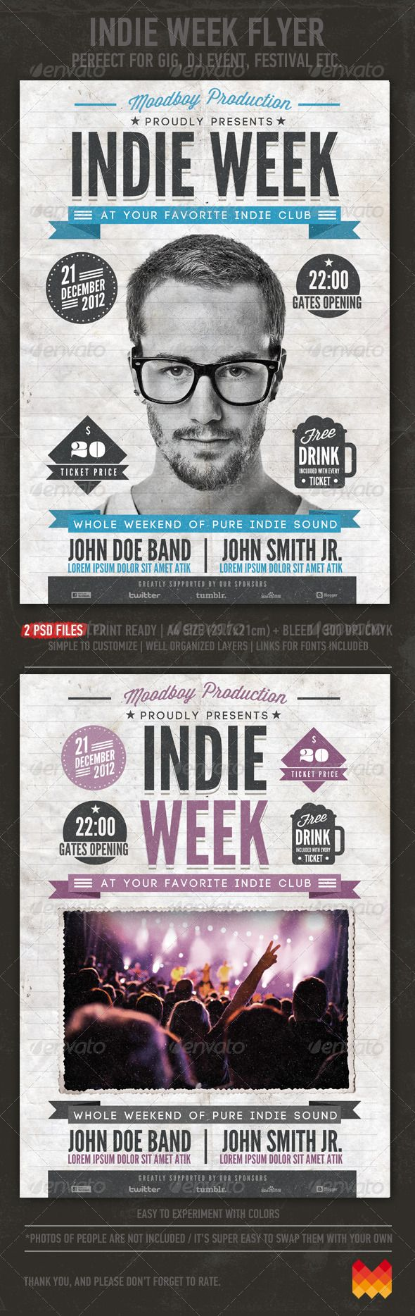 Indie Week Flyer/Poster PSD Print Template   Download: http://graphicriver.net/item/indie-week-flyerposter/3552627?WT.ac=category_thumbWT.z_author=moodboyref=ksioks
