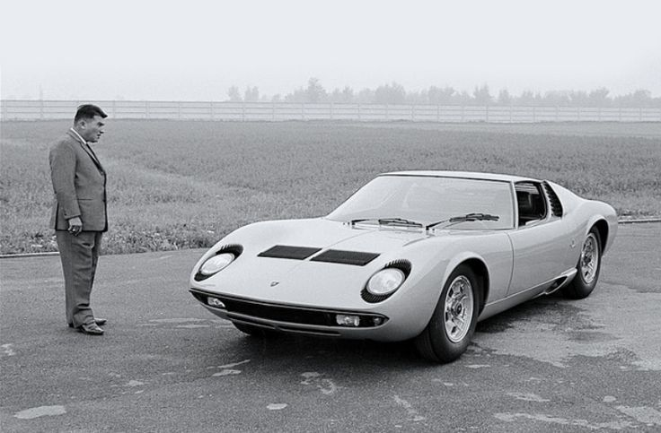 vintageclassiccars:  Ferruccio Lamborghini and his creation.-  Wow.