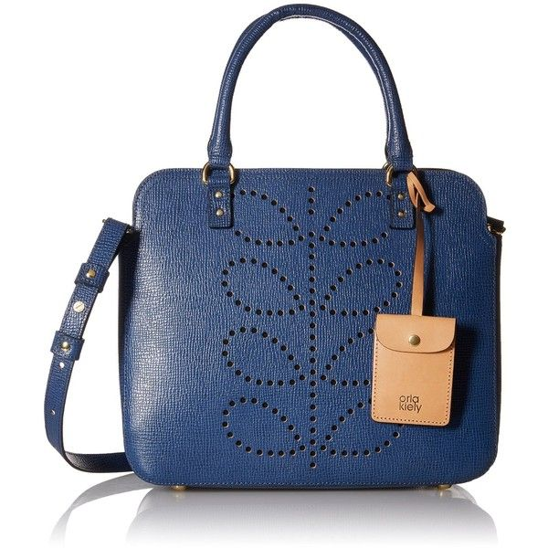 Orla Kiely Textured Leather Jeanie Convertible Shoulder Bag ($221) ❤ liked on Polyvore featuring bags, handbags, shoulder bags, top handle handbags, orla kiely, zipper handbag, blue shoulder bag and long strap shoulder bag