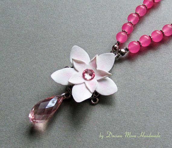 La vie en rose necklace flower necklace pink necklace jade