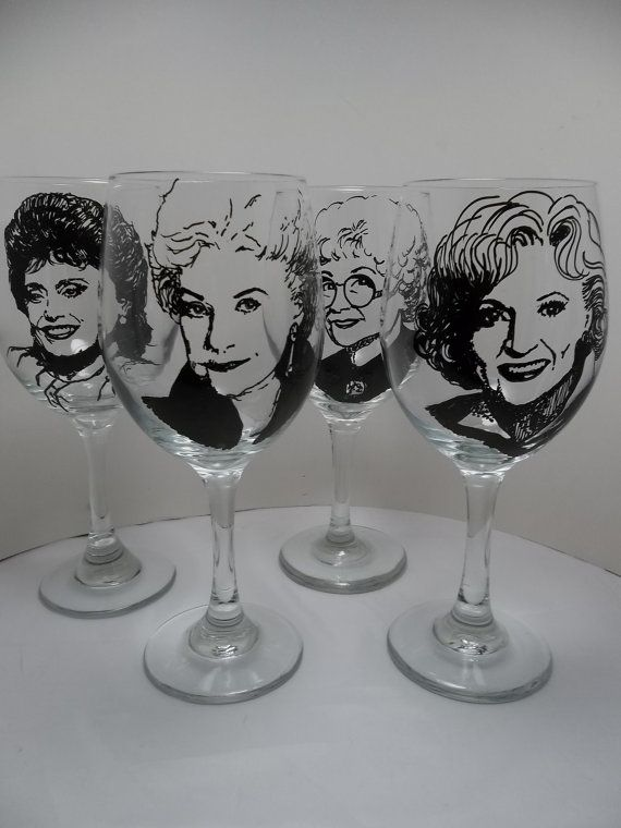 The Golden Girls wine glasses?! This is fantastic!!! @Stacie Boccanfuso
