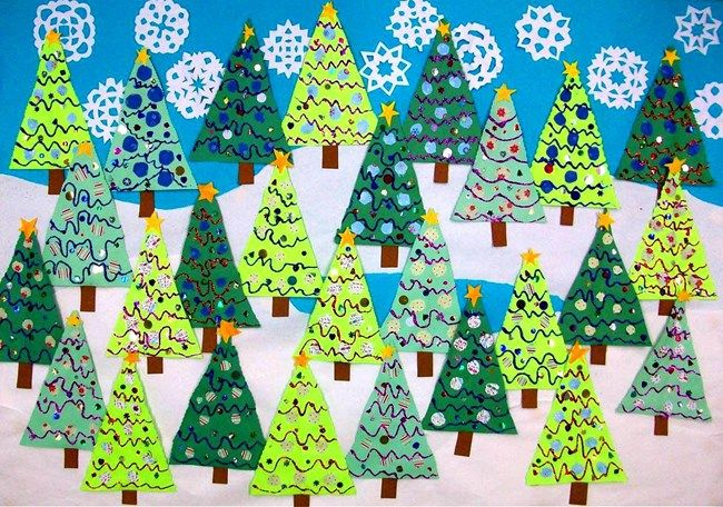 Inspiration: A triangle Christmas tree forest.  Decorate individual triangles or decorate a large sheet of paper and cut into triangles. Fun collaborative project for the classroom!