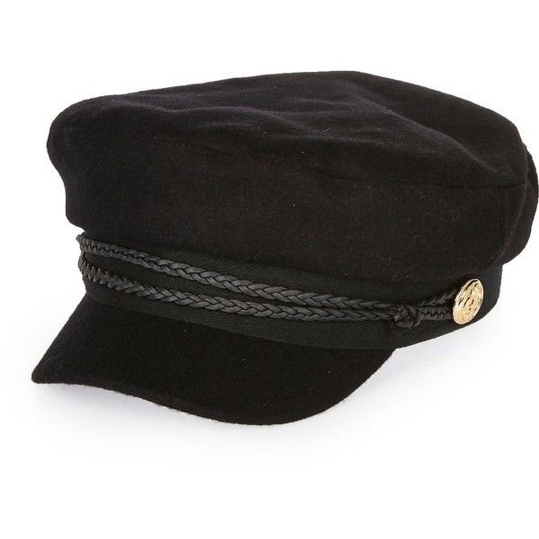 River Island Black wool captain's cap (£27) ❤ liked on Polyvore featuring accessories, hats, black, women, military caps hats, woolen caps, wool cap, wool hat and river island