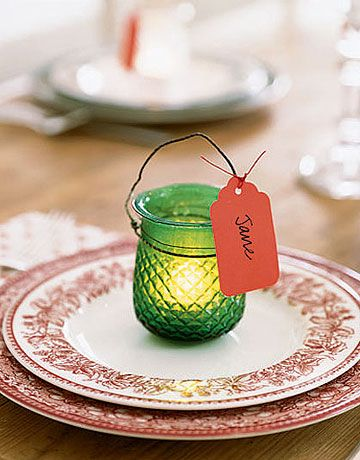 Glowing Place Card  Tag an individual light for a personalized place card at your holiday dinner.