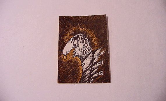 ACEO Original Art Drawing Larry Circus People by HouseOfPhlegethon (Art & Collectibles, Drawing & Illustration, Pen & Ink, ooak aceo, Avant Garde art, goth gothic art, circus man, angst raw brut, Outsider art, Low Brow art, black and orange, male profile, charicature art, HouseOfPhlegethon, ink drawing, bizarre art)