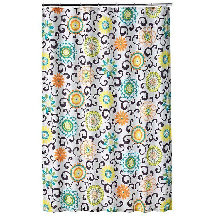 Waverly Pom Pom Fabric Shower Curtain, Multicolor