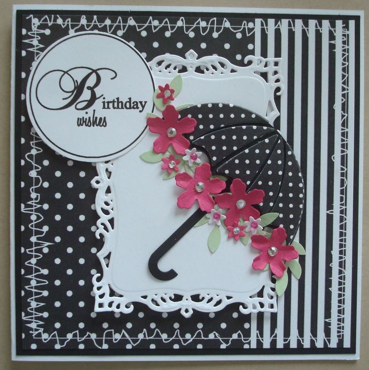 G096b Hand made Birthday card using MFT Umbrella die