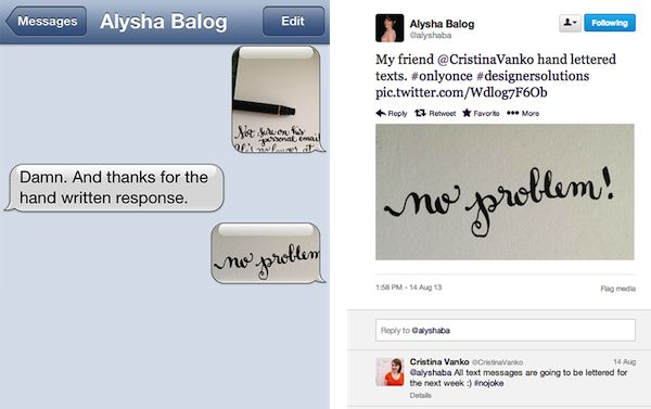 Designer Stops Texting, Sends Photos Of Hand-Written Calligraphic Messages