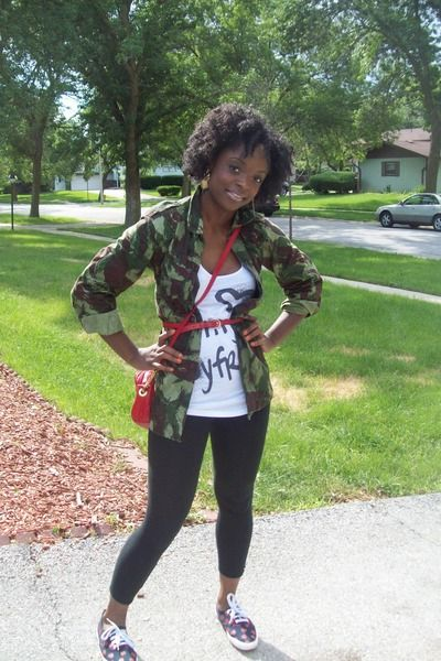 """Green Army Fatigue Jackets, Black Forever 21 Leggings, White Forever21 Tops, Res   """"EVEN on A REG day...MUST STAY haute!! XOXO"""" by PariSade - Chictopia"""