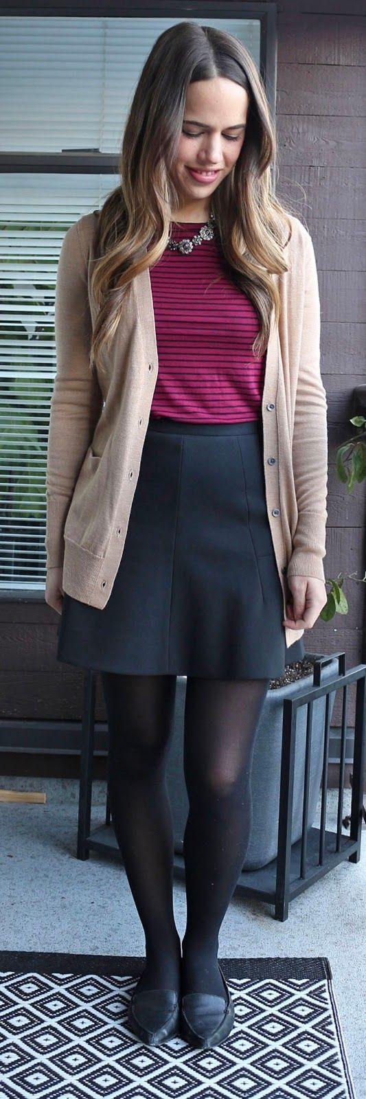 "business casual teacher teaching outfit | Jules in Flats -- Gap Merino Cardigan, Old Navy Crew Neck Layering Tee, J.Crew Skirt"""