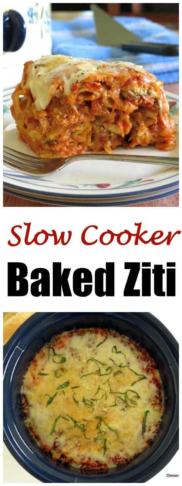 Slow Cooker Baked Ziti with Three Cheeses (but you can add meat and veggies.) You don't have to cook the noodles first in this easy recipe. We love it for entertaining or just enjoying a a comfort dish with the family. #slowcooker #bakedziti