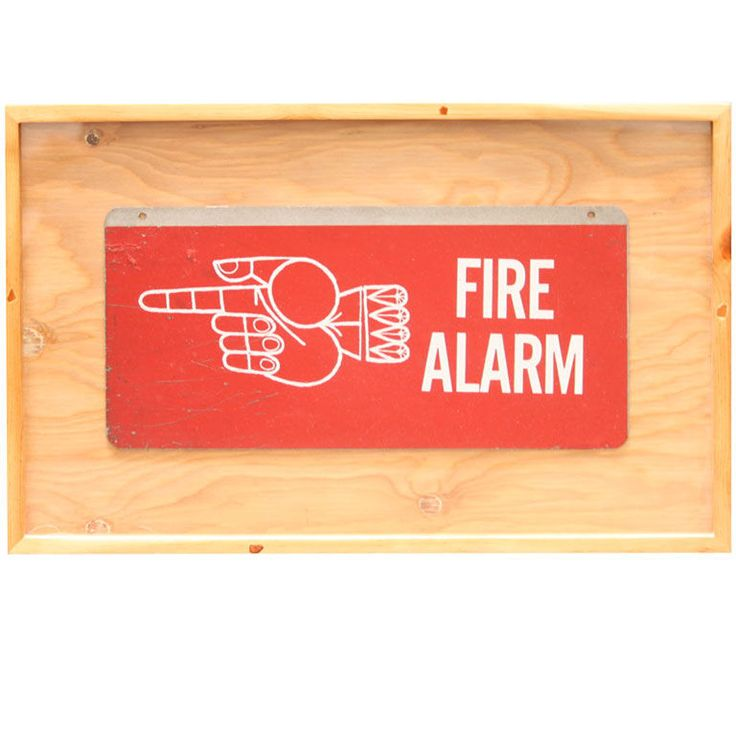 Framed Mid-Century Fire Alarm Sign