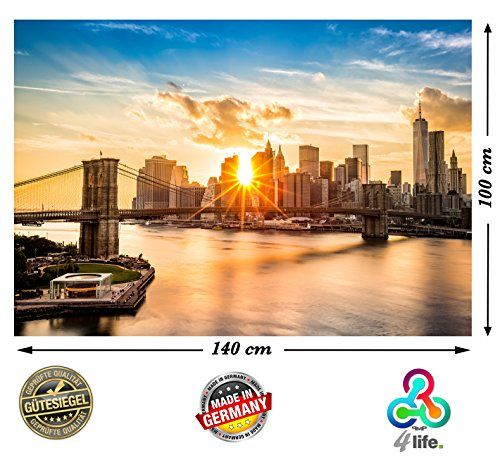 PMP-4life Wall Art New York Skyline Brooklyn Bridge HD XXL mural Poster 55 Inch x 39.4 Inch High resolution Wallpaper decoration image for wall design Fotoposter Manhattan at sunset downtown east river USA nyc America + FREE door poster of NY Big Apple