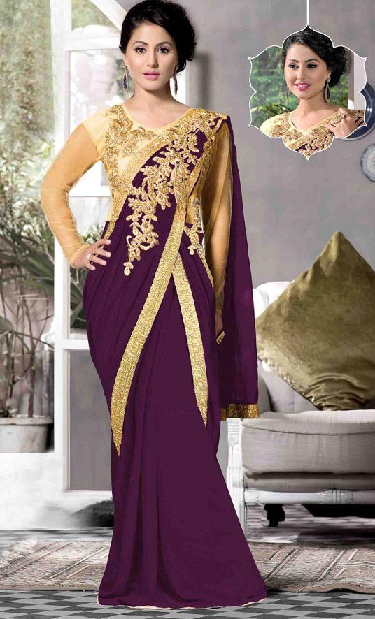 USD 51.33 Hina Khan Purple Georgette Designer Gown 48116