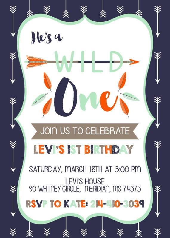 Wild One Birthday Party Invitation And Invite 1 Year Old Boy