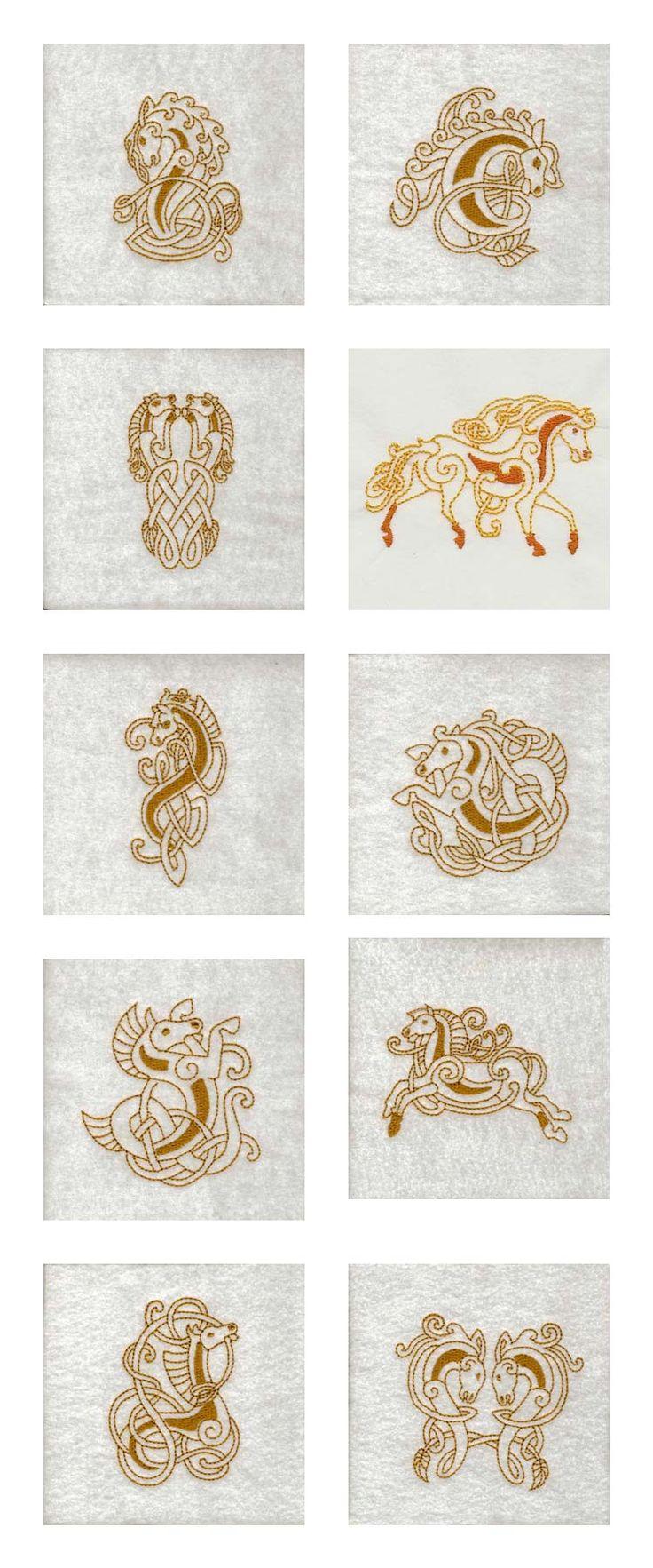 Celtic Horses Embroidery Machine Design