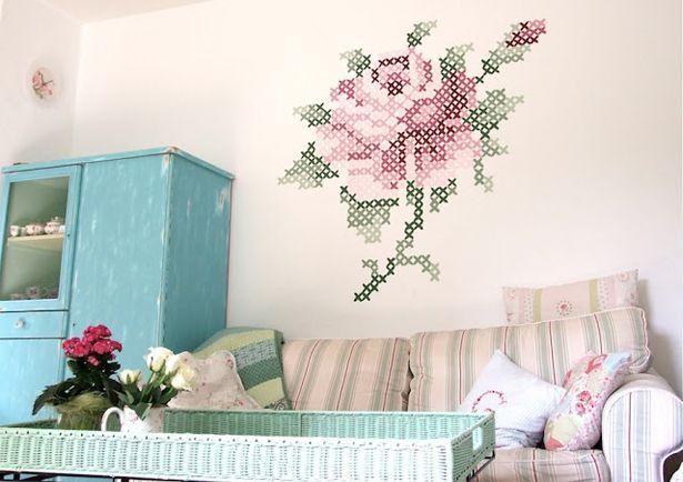 Muur Schilderen Ideeen : ... muurschildering, bloem, muur opleuken ...