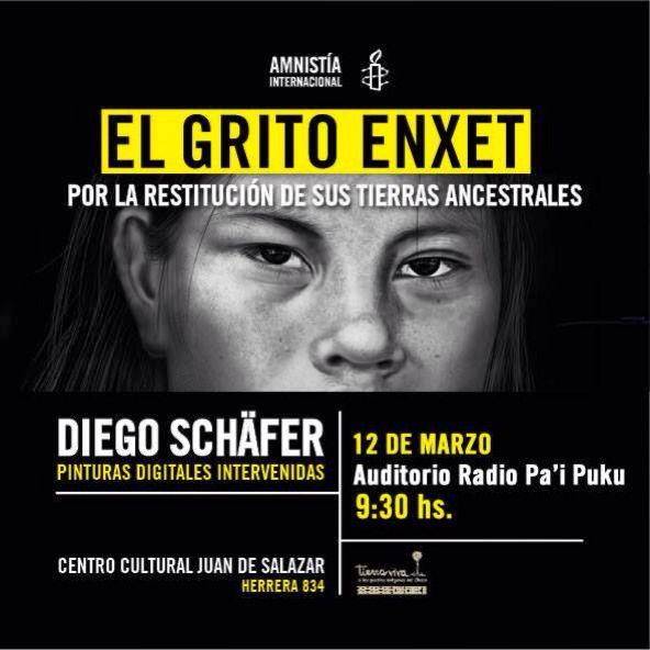 Hoy el #ElGritoEnxet expone en Radio Pa'i Puku del Chaco paraguayo, más información http://amnesty.org.py/exposicion-el-grito-enxet/