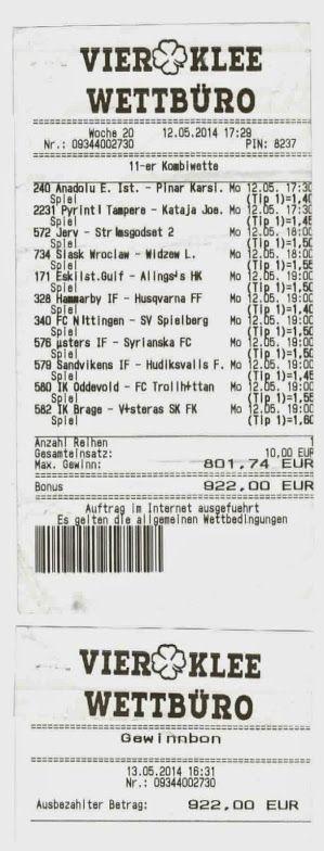 11er Kombiwette - mit 922,- Euro Gewinn.