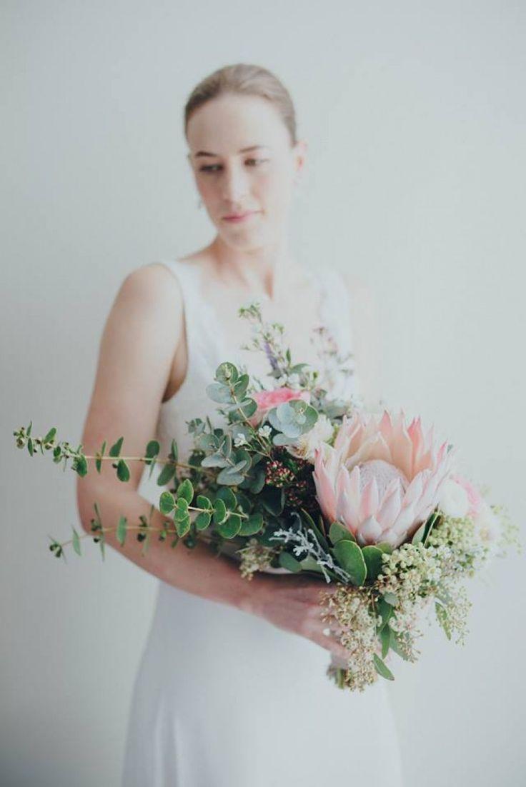 protea and eucalyptus bouquet - creative Perth florist Botanica Naturalis