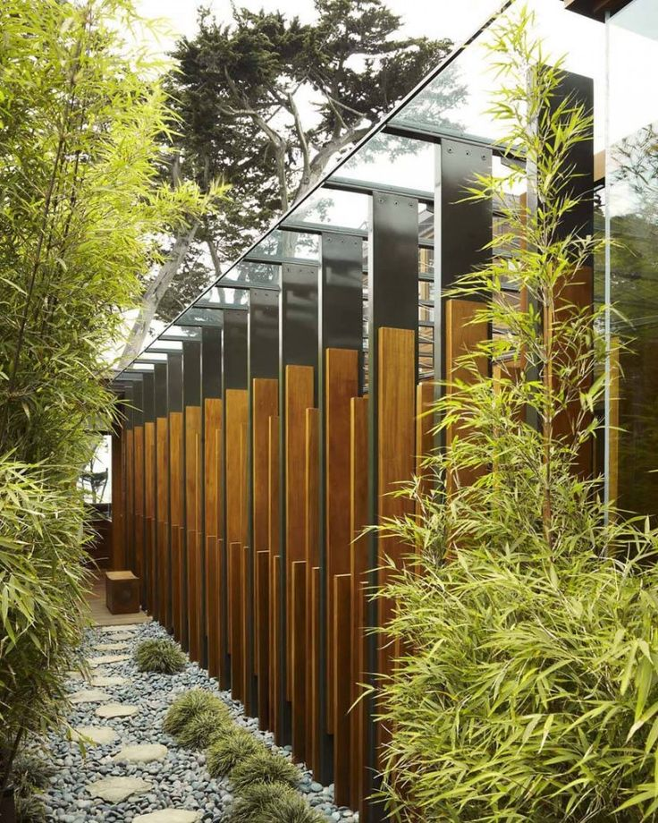 love the wood/metal/glass with greenery in narrow pathway Carmel Residence / Dirk Denison Architects
