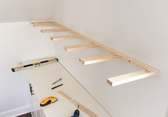 Brace Piece Of Diy Thin Wood Floating Shelves Hung On A Wall Using 1x3 And 1x2 Pine Boards Floati Floating