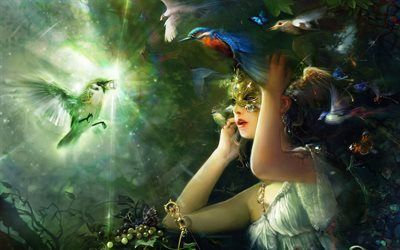 Scarica sfondi maschera, ragazza, fantasia, hummingbird, arte, diamante